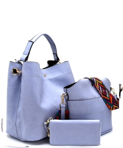 Faux Leather  Tribal  Strap Accent 3 in 1 Handle Satchel SET with Wallet Handbag LP1069 39944 Blue Bell