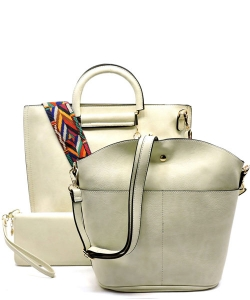 Faux Leather  Tribal  Strap Accent 3 in 1 Handle Satchel SET with Wallet Handbag LP1073 39952 Beige