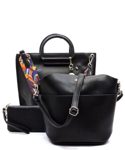 Faux Leather  Tribal  Strap Accent 3 in 1 Handle Satchel SET with Wallet Handbag LP1073 39952 Black