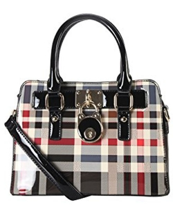 Patent Faux Leather Front Lock Mini Plaid Tote Handbag Gz-3078 39975 Black
