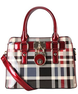 Patent Faux Leather Front Lock Mini Plaid Tote Handbag Gz-3078 39975 Red