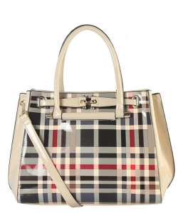 Patent Flannel Faux Leather Shoulder GZ6159 39980 Beige