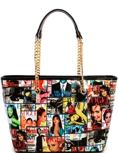 Magazine Print Patent Tote Design Handbag T1755 40005 Red