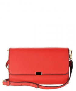 Designed Faux Leather Clutch K050 NC CROSS BODY PURSE RED
