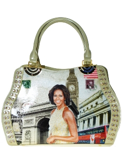 Fashion Magazine Print Faux Patent Leather Handbag With Gold Embellishments  B8365 APRICOT