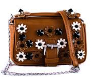 Flower And Belt Clip Two Tone Messenger Bag With Strap