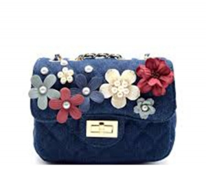 BGS48769 PEARLY QUILTED DENIM SHOULDER BAG