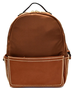 Stud Accent Mixed Material Fashion Backpack 87286