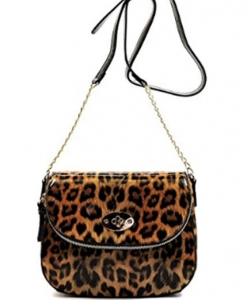 Leopard Glossy Animal Printed Satchel Crossbody Bag L045B