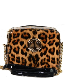 Leopard Glossy Animal Printed Satchel Crossbody Bag L039 BK
