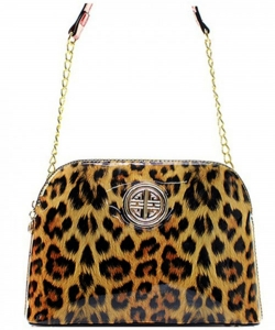 Leopard Glossy Animal Printed Satchel Crossbody Bag L040