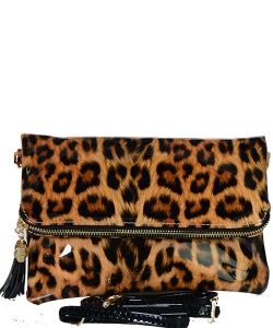 Leopard Glossy Animal Printed Satchel Crossbody Bag L037 BK