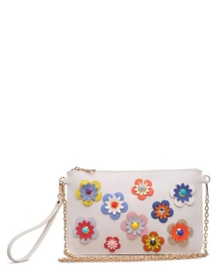 Wristlet Floral appliques with stud centers and glittered body 14016