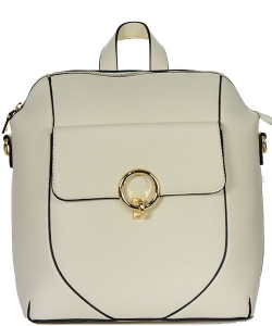 Zipper Pocket Accent Medium Fashion Backpack T1965