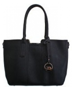 David Jones Leather Tote  Mini Reversible Handbag  50622 BLACK