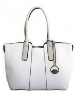 David Jones Leather Tote  Mini Reversible Handbag  50622 WHITE