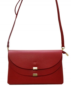 Designed Faux Leather Clutch HR0001 CROSS BODY PURSE Red