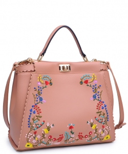 Eleanor Smooth Vegan Leather Floral Embroidery 14130