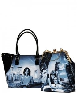 Fashion Magazine Print Faux Patent Leather Handbag With Gold Embellishments 2 in 1  28-PB9211