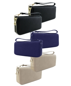 6pcs Double Zip Around Wristlet Wallet WU0012
