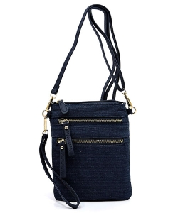 Denim DBL Petit Double Zippered Pocket Clutch with Wristlet and Strap DN002