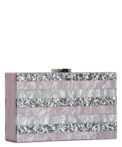 Elegant Cube Bebe Evening Clutch Embellished Accent PR CLW0835