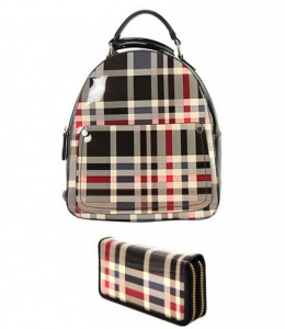 DESIGNER CHECKERED BACKPACK WITH MATCHING WALLETS