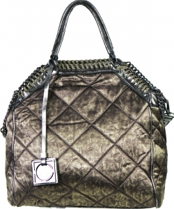 61051 Chain Accent Metallic 2-Way Satchel