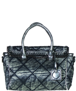 61052 Chain Accent Metallic 2-Way Satchel