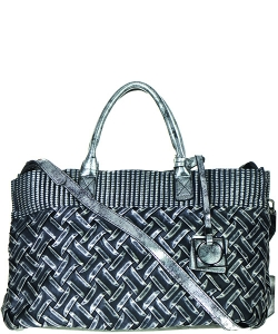 90832 Chain Accent Metallic 2-Way Satchel