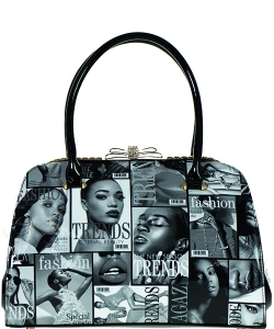 Magazine Print Patent Shoulder Design Handbag NB8003BW