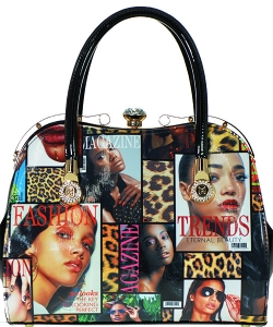 Magazine Print Patent Shoulder Design Handbag NT7004
