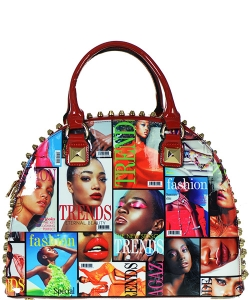 Magazine Print Patent Shoulder Design Handbag NR5002MT