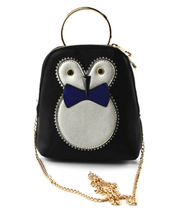 Cute Owl Pouch Purse,  Chain Strap Cross Body bag PR8530 NAVY