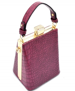 Animal Skin Textured Metal Frame Bag S87055A