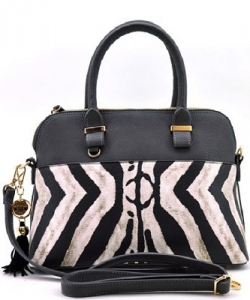 Zebra Print Fashion Handbag - Black/Gray ZA002
