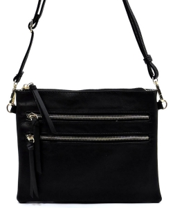 Multi Metal Zipper Pocket Small Crossbody Bag 80831B BLACK