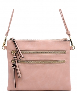 Multi Metal Zipper Pocket Small Crossbody Bag 80831B BLUSH