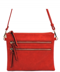 Multi Metal Zipper Pocket  Crossbody Bag 80831B RED