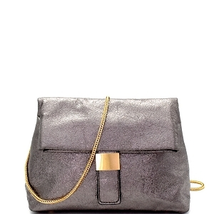 Buckled Metallic Fold over Cross Body Shoulder Bag 87402