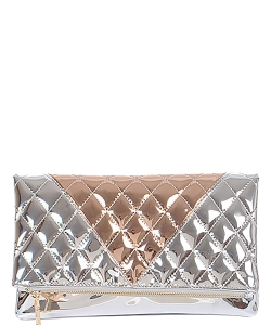 Women Quilted Two Tone Fashion Clutch Bags PPC5630