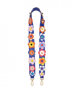 Strap Embellished Vegan Leather with flower Appliques 12726