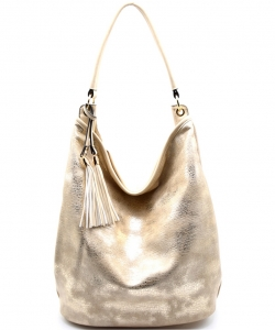 SG124 Tassel Accent Textured Metallic 2 Way Hobo