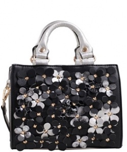 Faux Leather  Flower Print  Shoulder Handbag  87474