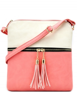 Tassel Accent Messenger Bag LP062 BIEGE/PINK