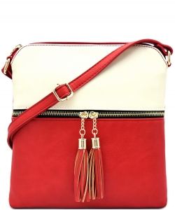Tassel Accent Messenger Bag LP062 BIEGE/RED