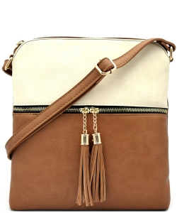 Tassel Accent Messenger Bag LP062 BIEGE/STONE