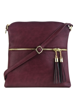 Tassel Accent Messenger Bag LP062 BURGANDY