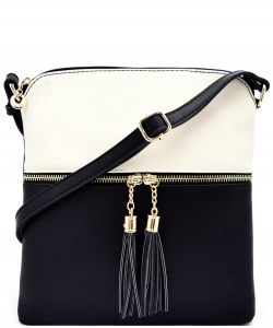 Tassel Accent Messenger Bag LP062 WHITE/BLACK