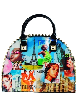 Magazine Print Patent Shoulder Design Handbag NR5001PA BLACK